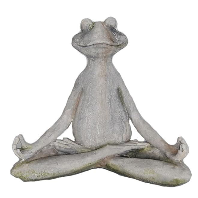 Statue de grenouille qui médite, 45 x 27 x 39,5 cm, gris
