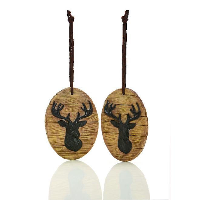 Holiday Living Deer Head Ornaments - Rustic Tidings - Brown - 4/Pack