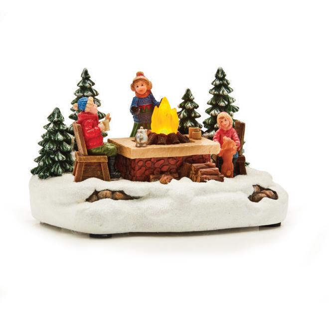 "Village Figurine - Kids with Campfire - Polyresin - 4.1"""