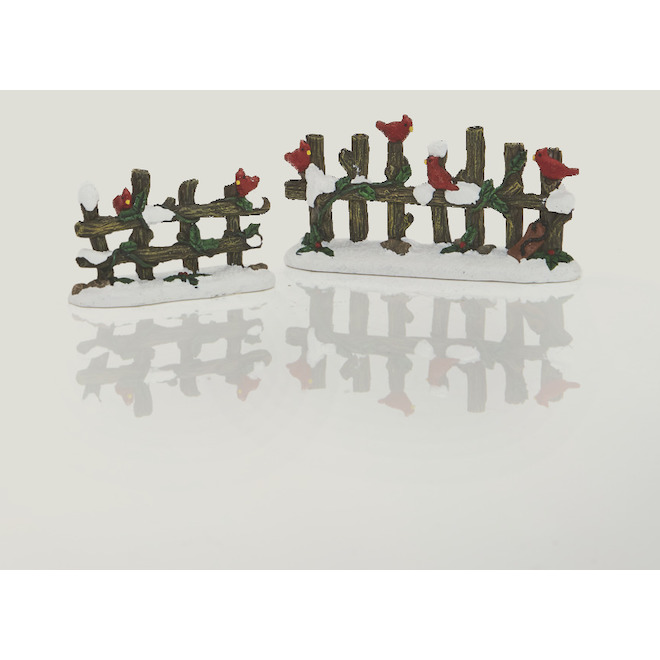 Set of 2 Fences for Christmas Village - Polyresin - 4.9-in - 2 Pieces