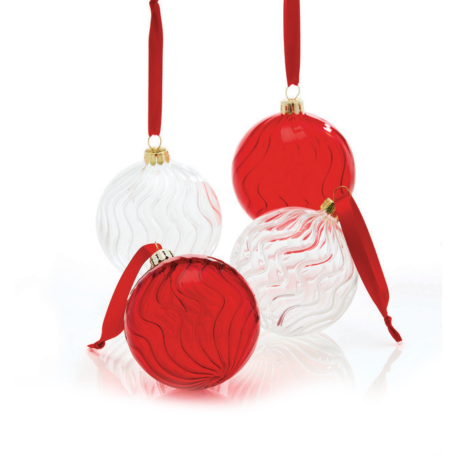 """Christmas Tree Ornaments - 3.74"""" - Glass - Red/Clear - 4-Pack"""