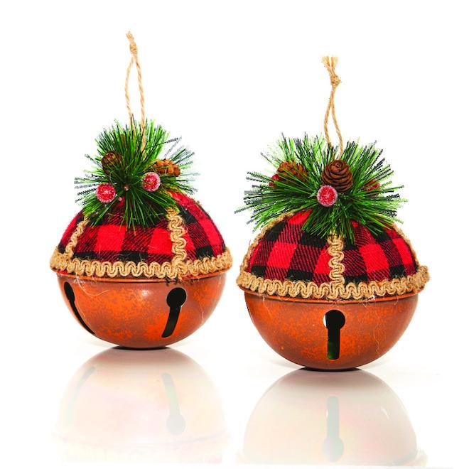 Christmas Ball Ornaments - Plaid Print - 10 cm - Pack of 2