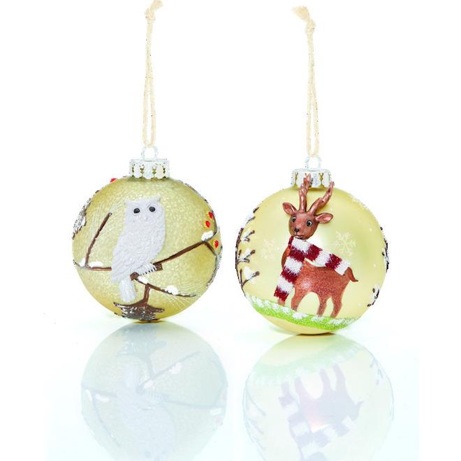 Boules de Noël, renne/hibou, 10 cm, verre, 2/pqt