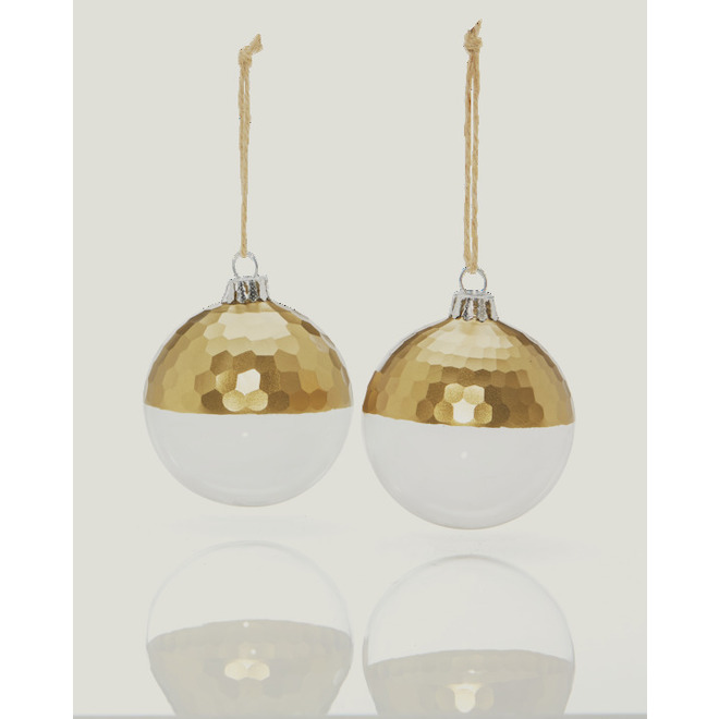 Holiday Living Etched Ornaments - 8 cm - Glass - Clear and Gold - 2-Pack