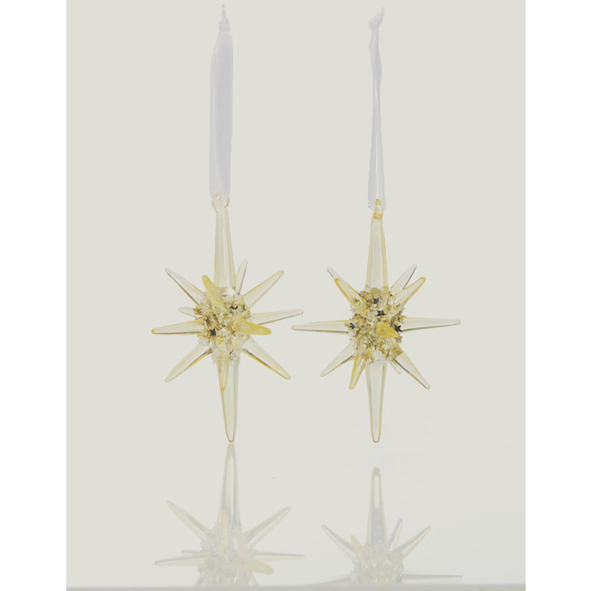Christmas Ornaments - Star - 5-in - Glass - Gold - 2-Pack