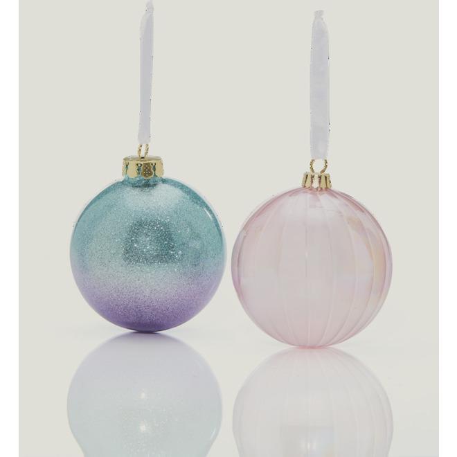 Boules de Noël Holiday Living, verre cannelé et perlé, 4 po, multicolore, paquet de deux