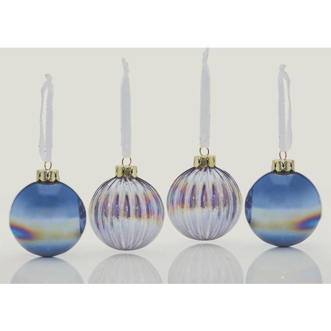 Boules de Noël Holiday Living, style iridescent, 3,5 po, verre, bleu, paquet de 4