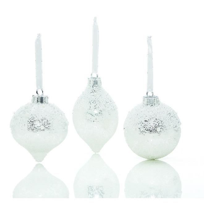 Christmas Tree Ornaments - Iridescent - Glass- Silver - 3-PK