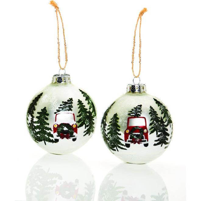 Boules de Noël peintes à la main, paysage, verre, 2/pqt