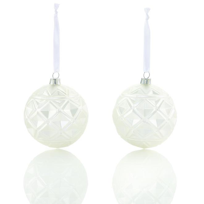 Boules de Noël blanc mat Holiday Living Élégance Nordique en verre moulé, 2/pqt