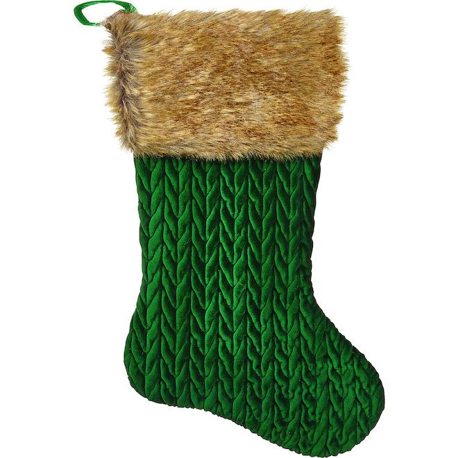 Bas de Noël Holiday Living avec fourrure, 21 po, vert