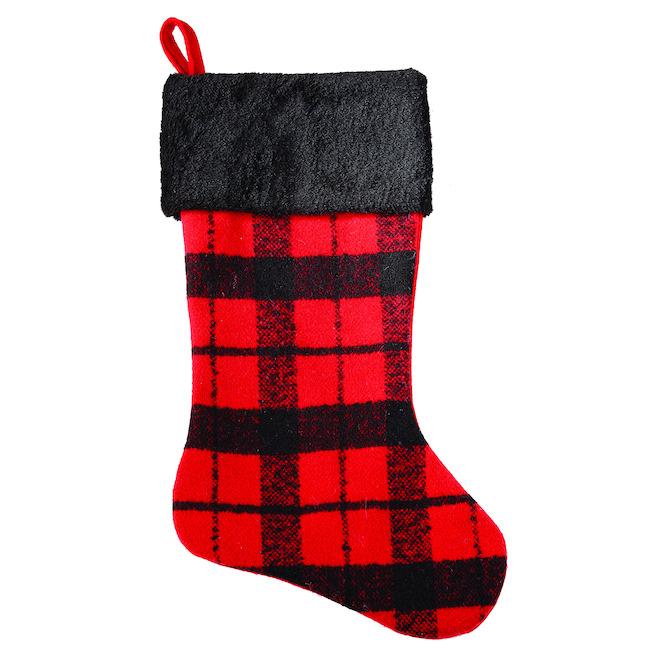 Bas de Noël Holiday Living avec motif à carreaux, 21 po, rouge et noir