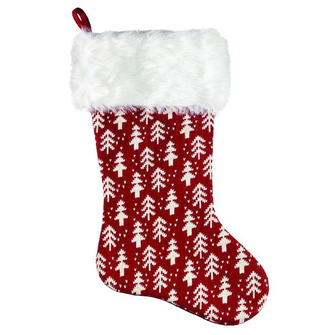 Bas de Noël Holiday Living de style tricot avec sapins, 21 po, blanc et rouge