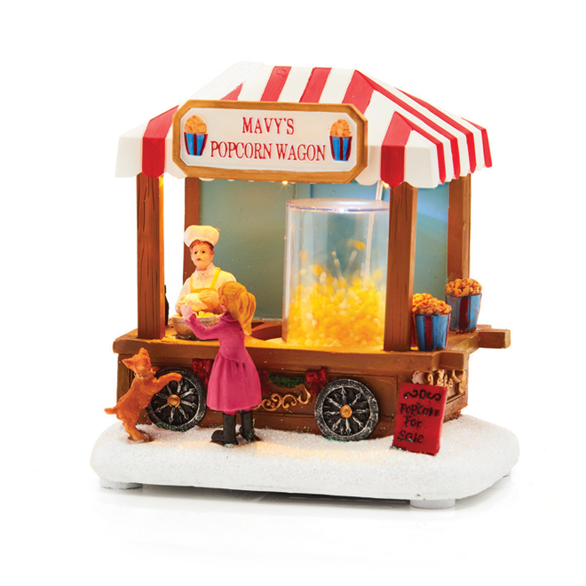 Lighted Popcorn Wagon with Batteries