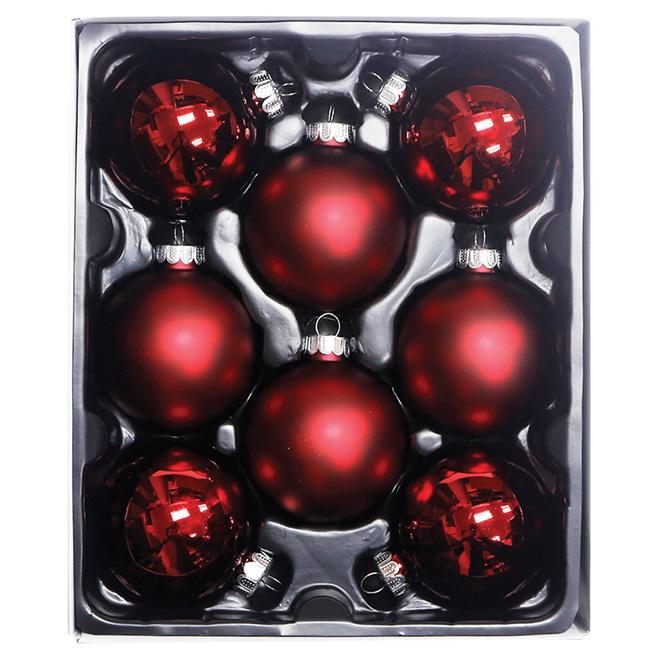 Boules de Noël en verre, rouge brillant, paquet de 8