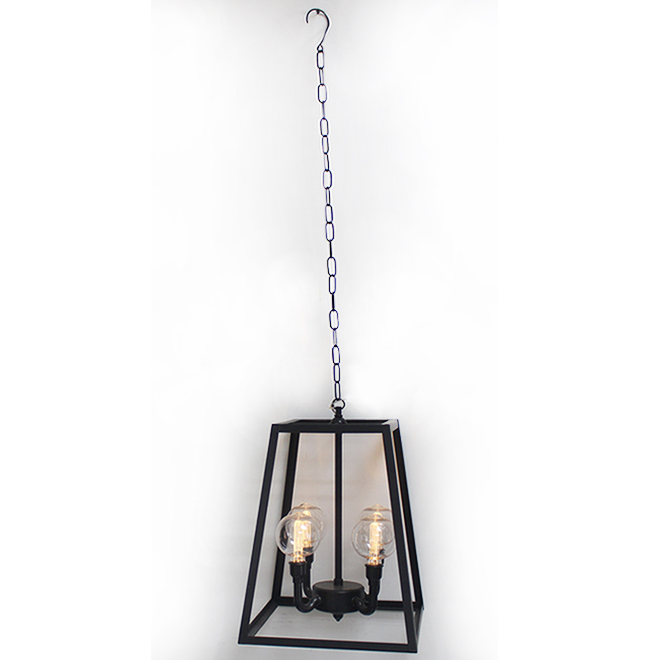 Lustre pour abri de jardin DEL, 4 lumières, métal/plastique, noir