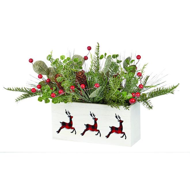Centre de table de Noël Holiday Living avec rennes, multicolore, paquet de 1