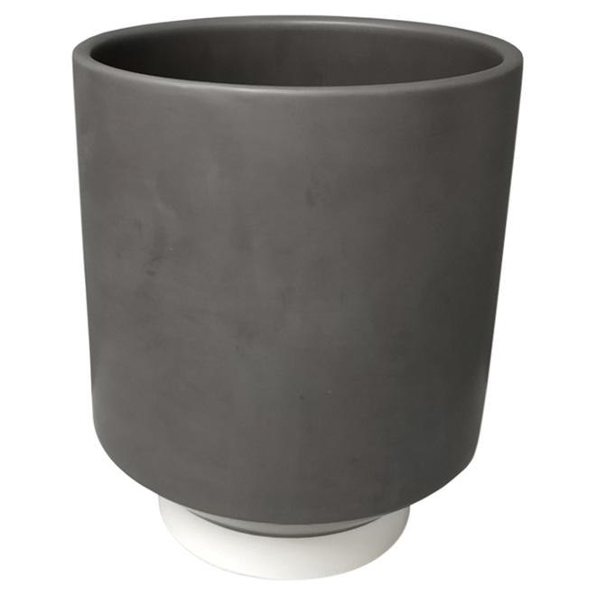 """Pot à fleurs City Oasis, 8"""" x 10"""", grès gris et blanc"""