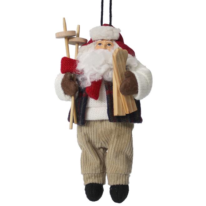 "Tree Ornament - Santa Claus - 6.5"" - Fabric - White/Grey"