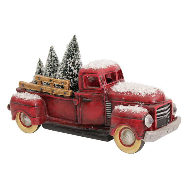 Camion rétro Holiday Living avec sapins, DEL, 11,5 po x 5 po, rouge