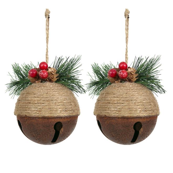 Holiday Living Christmas Tree Ornaments - Jingle Bells - 4.25-in - Metal/Jute - Brown - Set of 2