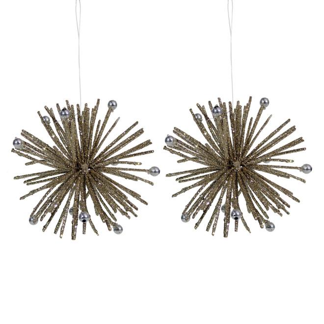 Holiday Living Starburst Ornament - Plastic - Gold - Set of 2