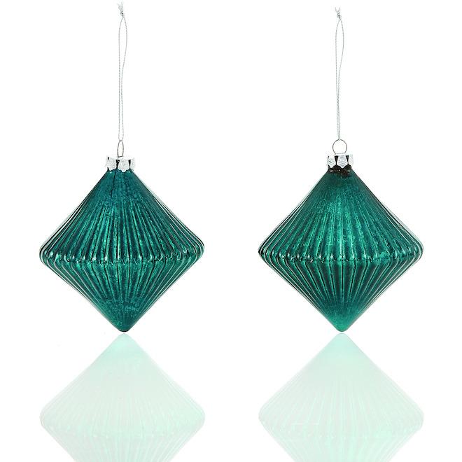 Ornements en verre Holiday Living à forme de diamant, paquet de 2, vert profond