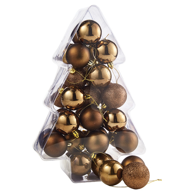 Christmas Ball Ornaments 60 Mm Bronze 34 Pk