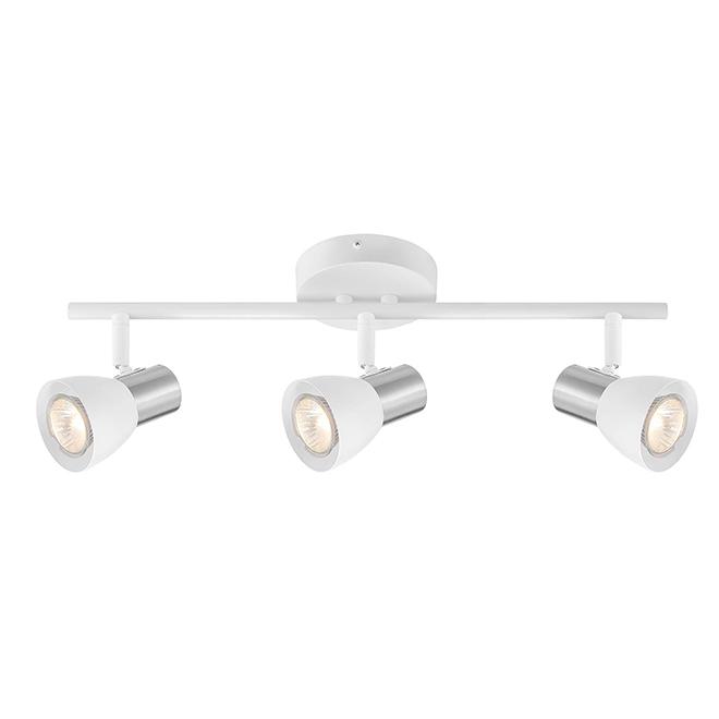 Rail d'éclairage 3 lumières, métal/verre, blanc/nickel brossé