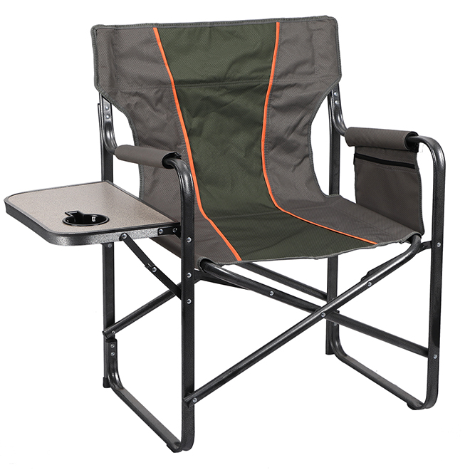 Chaise de camping de type cinéaste, table d'appoint, vert/gris