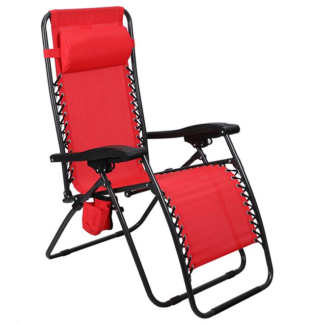 Chaise longue de patio Relax par Style Selections, zéro gravité, porte-gobelet, rouge