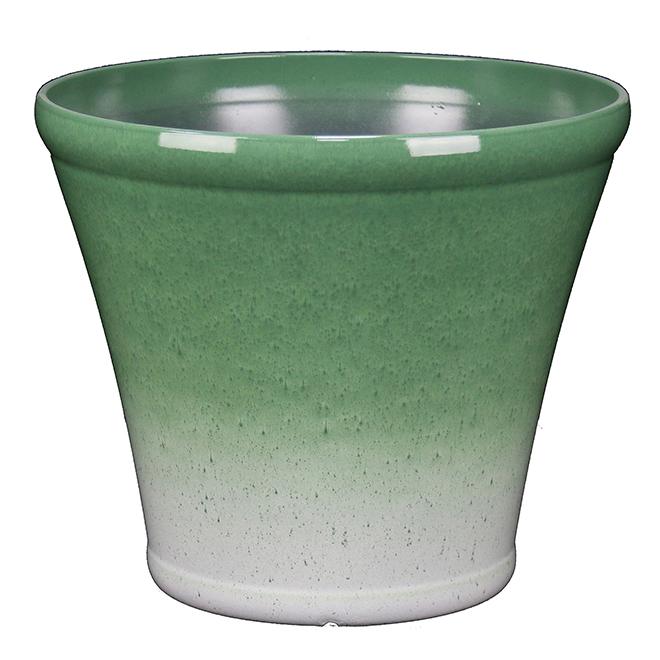 """Pot d'extérieur Style Selections, résine, 17"""", vert"""