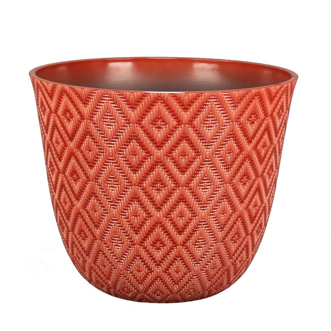 Pot en résine Allen + Roth, motif géométrique, intérieur et extérieur, 11,2 po, rouge