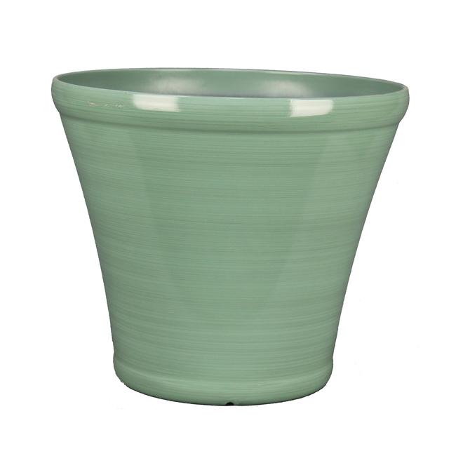Pot en résine Allen + Roth, intérieur et extérieur, 17 po, vert