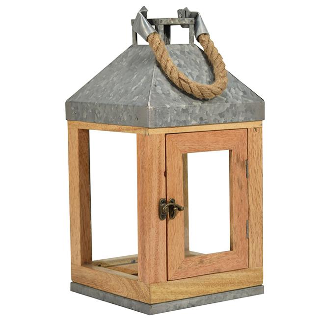 Lanterne en bois naturel et acier galvanisé Allen + Roth, 7,5 po x 15,4 po