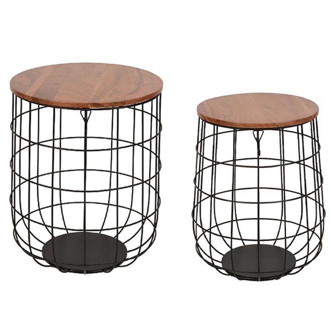 Ensemble de tables ou support de plante Allen + Roth, métal et bois