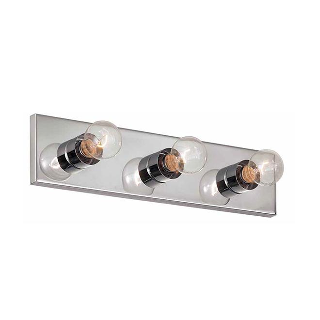 """Luminaire de meuble-lavabo, 3 lumières, 18"""", acier, chrome"""