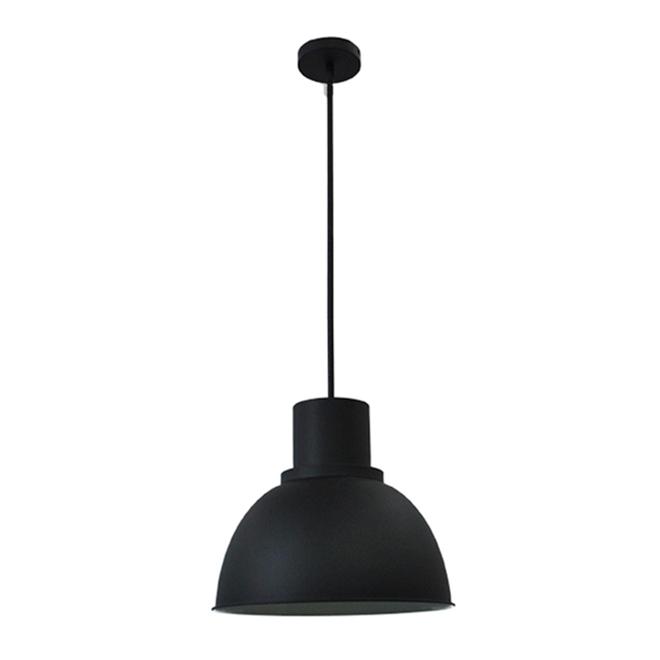 """Suspension à 1 lumière, dôme, 35"""" x 15"""", acier, noir"""
