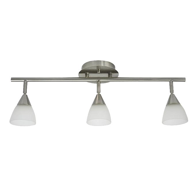 Luminaire sur rail, 3 lumières, acier/verre, blanc/nickel