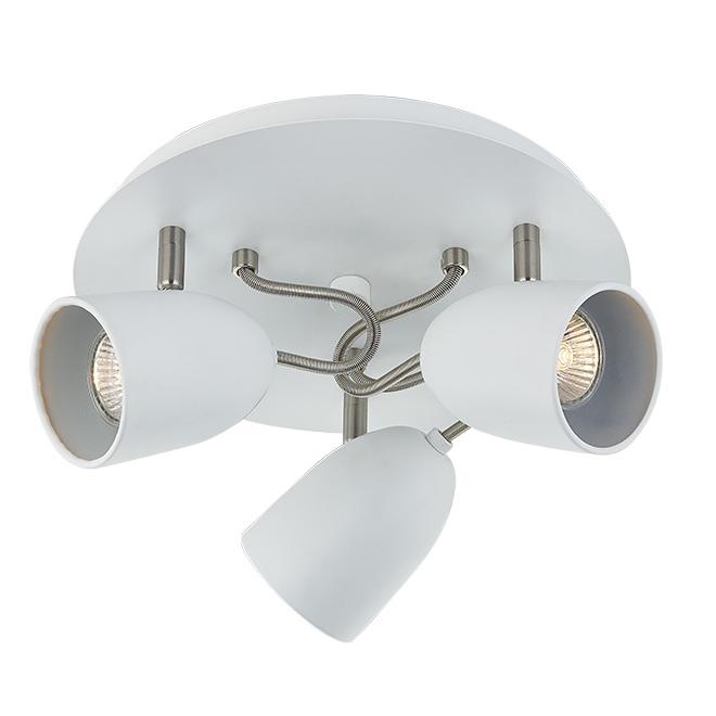 """Plafonnier à 3 lumières, 14"""", acier, blanc mat/chrome"""