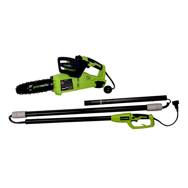 Scie à chaîne électrique 2-en-1 Greenworks, 6 A, 10 po, 6000 tr/min, verte et noire
