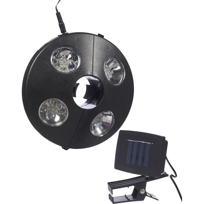 Umbrella Solar Lamp - White LEDs - Black Plastic