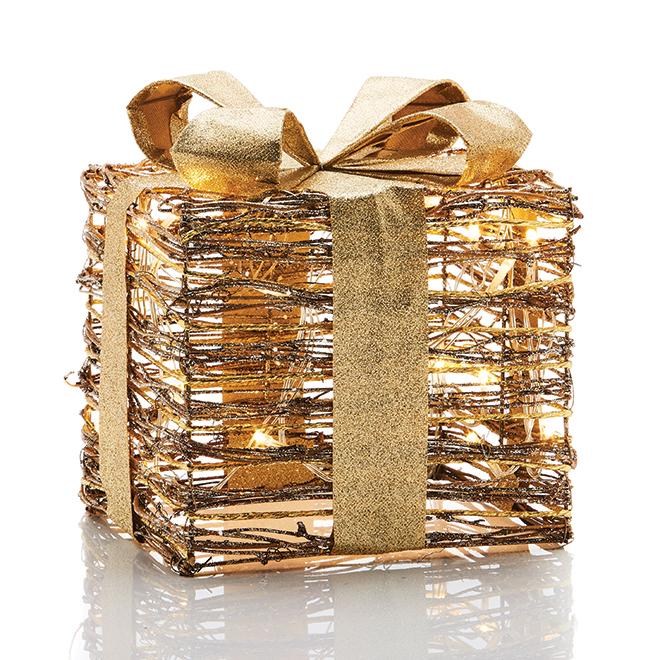 Cadeau illuminé en rotin avec boucle or de Fusion Products, 8 po, 20 Lumières DEL blanc chaud, à piles