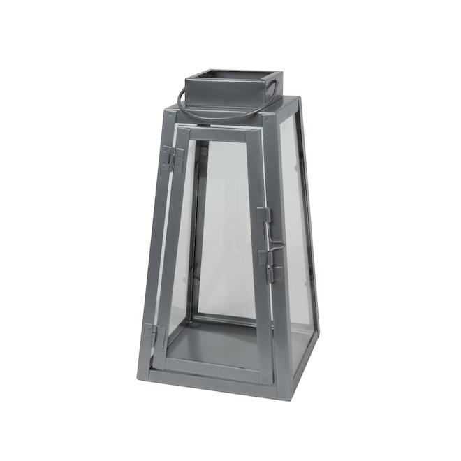 Lanterne triangulaire Fusion Products en métal, 9 po, argent
