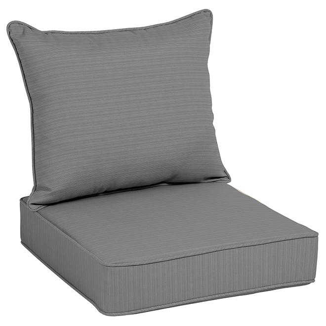 Allen + Roth Deep Seat Chair Cushion - Olefin - 46-in x 25-in - Grey