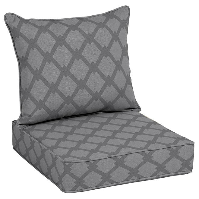 Coussin de chaise, Allen+Roth, polyester, 46'', gris