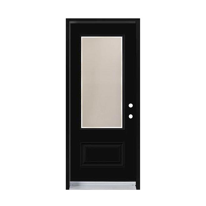 """Porte en acier prémontée et prépercée, gauche, 34"""" x 80"""", noir"""