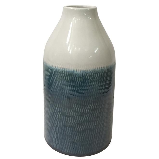"Pot allongé, 5,12"" x 10,63"", terre cuite blanche et aqua"