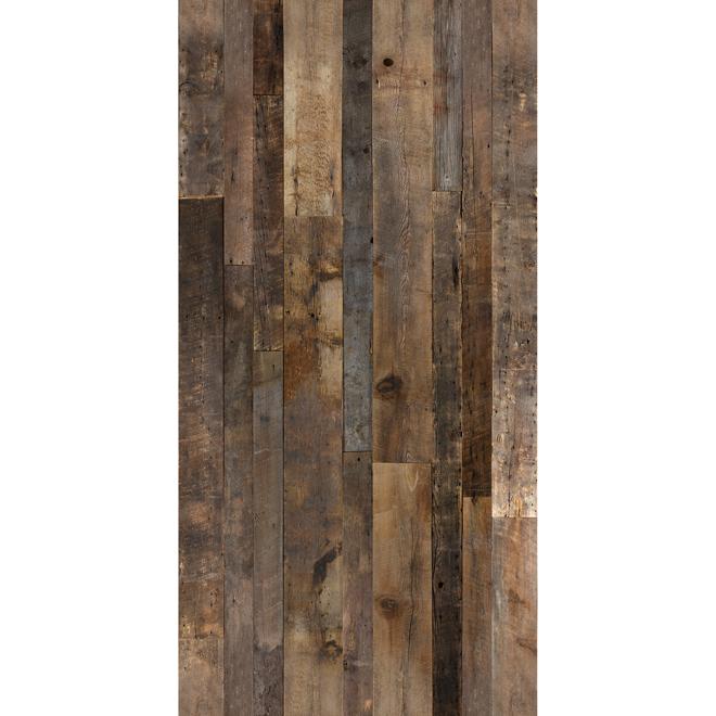 Revêtement mural imitation bois de grange, 48 po x 96 po, brun