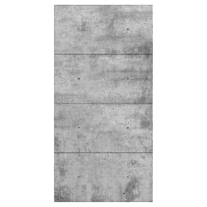 """Revêtement mural imitation de béton, 48"""" x 96"""", gris"""